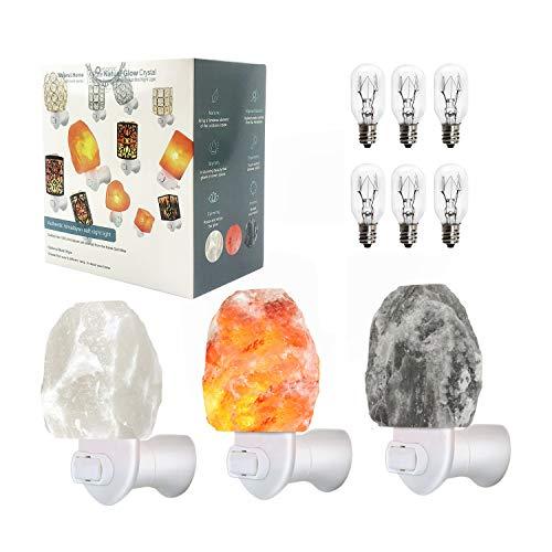 Omonic 3 Pack Rare Carved Gray Grey White Pink Himalayan Crystal Salt Rock Night Light Lamp Mini Lights Wall Plug Night Light Set, 6 Smoothing Incandescent Bulbs