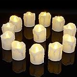 PChero 12pcs a pile con luce bianca calda a LED senza fiammeggiare, candele a lume di candela con timer, 6 ore su 24 ore di ciclo, per la festa di nozze di compleanno[1,7 pollici versione alta]