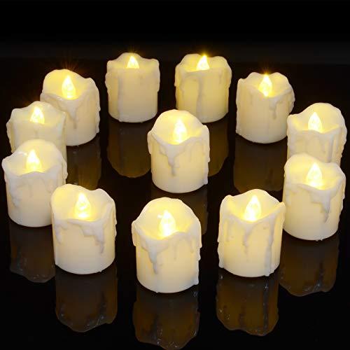 LED Teelichter, PChero 12 Stück LED Strom Kerzen Flammenlose Flackernde Kerzenlichter mit Timerfunktion Beleuchtung für Weihnachten Neujahr Feste Hause Zimmer Tisch Garten Deko [1,7 Zoll Hohe Version]