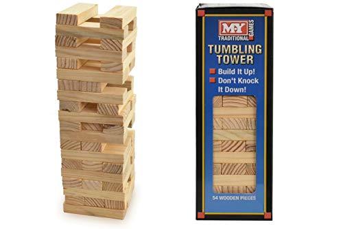 Turmspiel von Lateo Toys and Games, stapeln Sie Holz-Blöcke, für Kinder oder Erwachsene, 54Holzblöcke, traditionelles Holz-Spiel, ideal für Familien, perfektes Geschenk