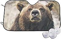 クマは野生動物に直面する サンシェード 車用 カーシェード 遮光 遮熱 車窓日よけ 日よけ UV 紫外線防止 暑さ対策 簡単取り付け 吸盤