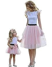 Vestido Verano para Madre e Hija 2 Piezas Conjunto de Camiseta sin Manga Camisola con Volantes + Falda de Cintura Elástica Traje de Algodón y Tul para Mamá y Niña