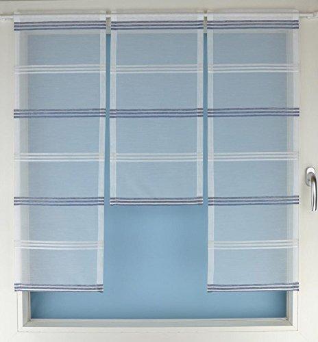 Gardinen Röttger Miniflächen-Set Organza blau quer gestreift Scheibengardine