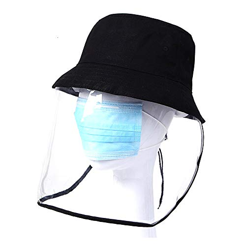 Sarahjers-Home Full Face Protective Safety Face Shield Transparent Disposable Full Protective Anti-fog Anti-Saliva Hat Protective Visor Face Hat Safety Fishing Hat Color : Clear, Size : ONE SIZE