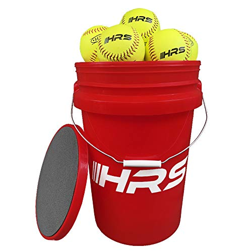 Hit Run Steal Softball Bucket with 12 Inch Fast Pitch Softballs. Comes with Padded Seat Top (12 Softballs)