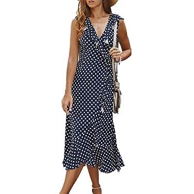 Women Sleeveless Polka Dot Boho Maxi Dress Summer Beach Ruffle Split Party Summer Casual Dress Blue by Hemgk