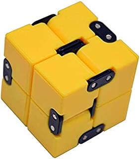 EDC Fidgeter Yellow Infinity Cube Fidget Toys. Prime Quality Fidget Cubes Gadgets for Adults and Children. Cool Stress Toy, Desk Accessories, Home Office Anxiety Sensory and Stress Relief Puzzle