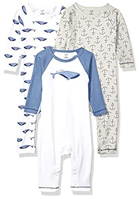Touched by Nature Baby Organic Cotton Coveralls, Blue Whale, 6-9 Months