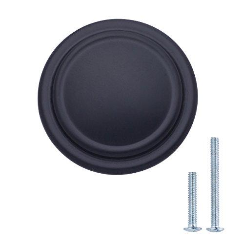 AmazonBasics - Schubladenknopf, Möbelgriff, mit gerader Platte oben und Umrandung, Durchmesser: 3,17 cm, Matt-Schwarz, 10er-Pack