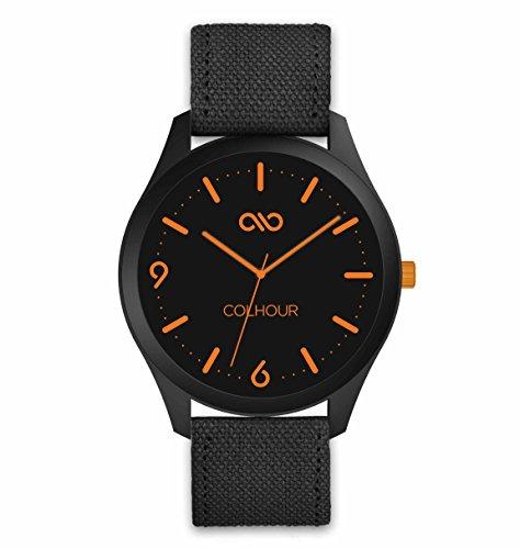 Colhour Watches - Orologio da polso unisex con cinturino in tessuto, progettato e realizzato in Spagna e movimento giapponese Miyota by Citizen. Striscia arancione