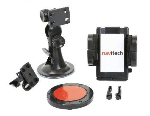 Navitech - Fixation Voiture Universelle avec Ventouse,Disque adhésive et Clip Compatible avec Grille d'aération, 360 degrés de mobilité et Technologie Anti-Vibrations Compatible avec Motorola Razr