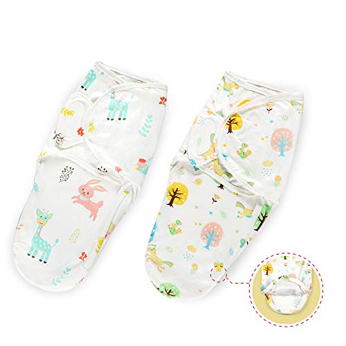 Haakaa Baby Swaddle Blanket Wrap, 100% Cotton Adjustable & Diapers Changeable Baby Swaddle Sleep Sack with Zipper for Newborn Baby Girl 0-3 Months Old, 2 Pack (Small)