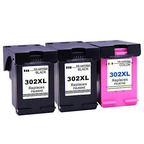 Ksera Rigenerata HP 302 XL HP 302 Cartuccia di inchiostro, Alta resa 3Pack (2 Nero, 1 a Tre colori) F6U68AE / F6U67AE compatibile con HP Envy4520 / 4521/4522/ 4523/4524/ 4525/4527/ 4528