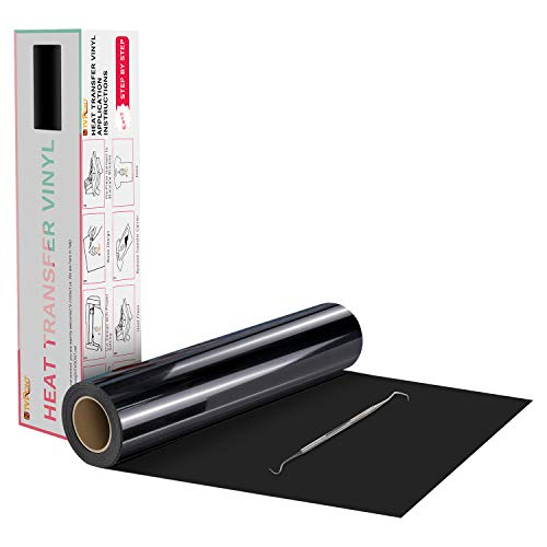 HTVRONT Black Heat Transfer Vinyl Rolls - 12' x 20ft Black HTV Vinyl for Shirts, Black Iron on Vinyl for All Cutter Machine - Easy to Cut & Weed for DIY Heat Vinyl Design