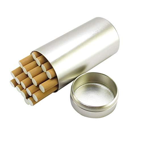 WANGXNCase Las Cajas de Cigarrillos Tienen Capacidad para 20 palitos de Cigarrillos ordinarios con Delantales Cajas de té de Tabaco Impermeables Selladas,Plata