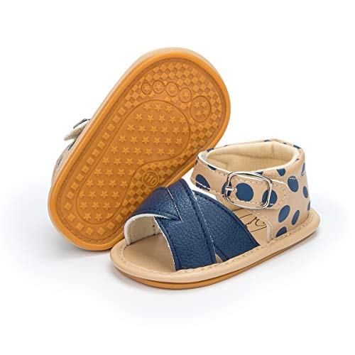 Isbasic Infant Baby Pu Leather Sandals for Toddler Boys Girls Rubber Sole Anti-Slip Slippers Dress Shoes, A-navy Blue, 6-12 Months Infant