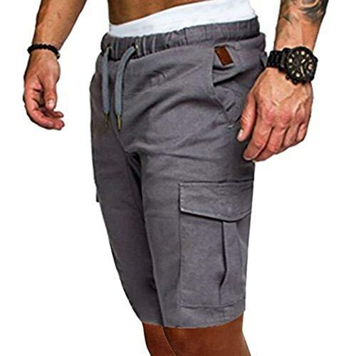Dazzerake Pantalones cortos de running para hombre, cintura elástica de color liso, pantalones cortos deportivos casuales, ligeros con seis bolsillos gris luminoso (ral 7035) XL