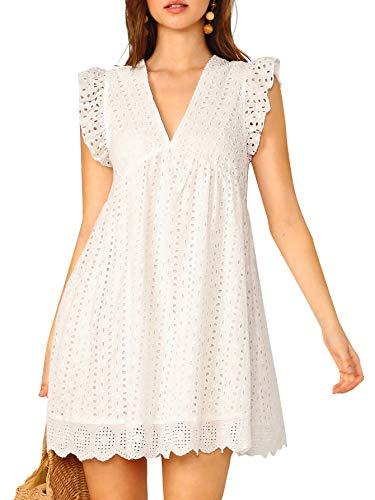 DIDK WOMEN `S EYELET DRESS 민소매 V 넥 자수 프릴 암홀 BOHO SMOCK DRESS