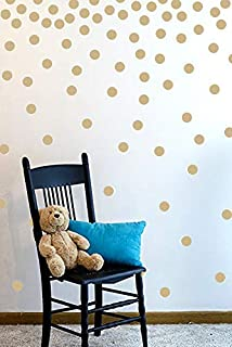 Wall Decal Dots (200 Decals) | Easy to Peel Easy to Stick + Safe on Painted Walls | Removable Vinyl Polka Dot Decor | Round Sticker Large Paper Sheet Set for Nursery Room (Light Brown)