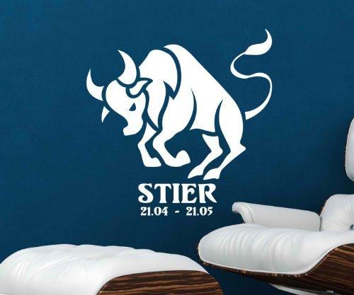 Wandtattoo Sternzeichen Stier Tier Wand Sticker Tattoo Wandbild Aufkleber 5Q510, Farbe:Dunkelgrün Matt;Hohe:50cm
