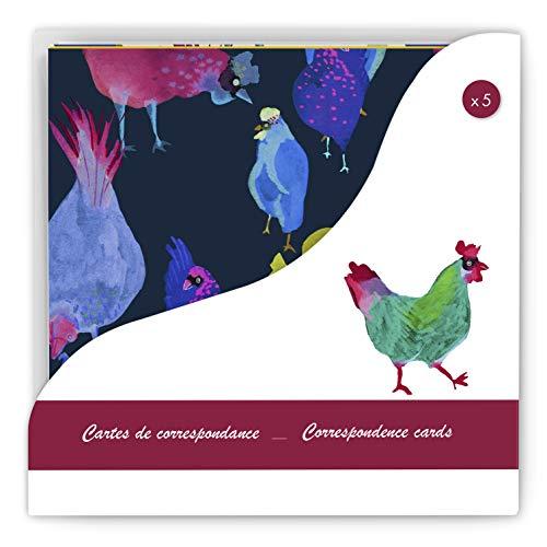 Clairefontaine 115260C - Un set de correspondance Les coquettes comprenant 5 cartes simples 13,5 x 13,5 cm et 5 enveloppes 14 x 14 cm, motifs assortis