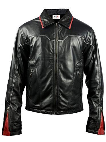 H&A Collections Vin Diesel Furious - Chaqueta de piel negra (tamaño grande y alto), color negro