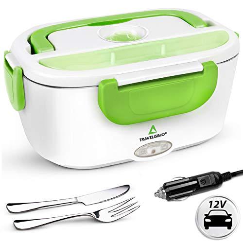 TRAVELISIMO Lunch Box Gamelle Chauffante Électrique pour Voiture 12V, Chauffe en Quelques Minutes, Acier Inoxydable 1.5L 40W, Boîte Isotherme Repas Chaud
