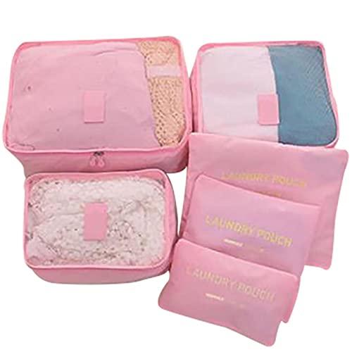 6 unids / set bolsa organizadora de viaje portátil ropa ropa interior zapatos bolsa organizadora bolsa de equipaje bolsa de viaje almacenamiento impermeable rosa