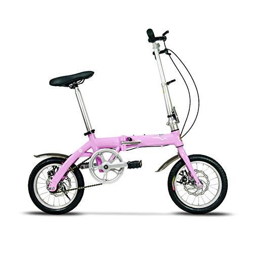 ZHIFENGLIU Bicicleta Plegable, Mini Bicicleta Ultra-Ligero Y Conveniente, Vespa Trasera Unisex De Absorción De Choques,Rosado,20inch