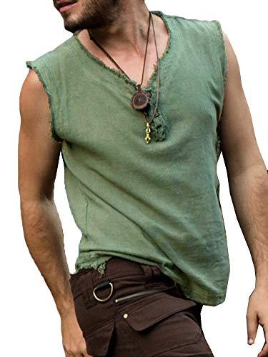 Taoliyuan Mens Medieval Costume Renaissance Pirate Tank Tops Raw Cut Viking Halloween Sleeveless T Shirt Top Green