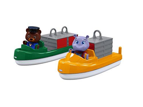 AquaPlay 255 Container- & Transportboot - Zubehör für AquaPlay Wasserbahnen oder für die Badewanne, 2 Boote, Container und Bo und Wilma, für Kinder ab 3 Jahren