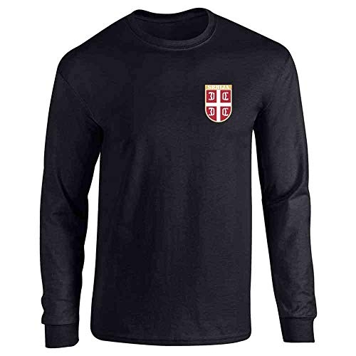 Serbia Soccer Retro National Team Costume Black L Full Long Sleeve Tee T-Shirt