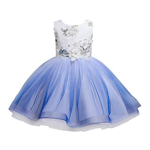 BOIYI Disfraz de Princesa Chicas Fancy Vestido Retro Princesa Flor Desfile de Nios Vestido de Cosplay de Carnaval, Halloween y la Fiesta de Cumpleaos Vestidos Vestido de Fiesta(Azul Oscuro,130)