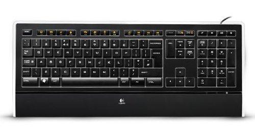 Logitech K740 Kabelgebundene Tastatur, USB-Anschluss, Hintergrundbeleuchtete Tasten, PerfectStroke Feature, Schlankes Design, Weiche Handballenauflage, PC/Laptop, Italienisches QWERTY-Layout - schwarz