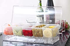 NO MORE SPREADING OUT MULTIPLE PLATES- Serve condiments and toppings at your parties and BBQ's! Our 5 piece removable compartment chilled condiment server accommodates 5 of your different choices into ONE! CONVENIENCE- The chilled condiment server al...