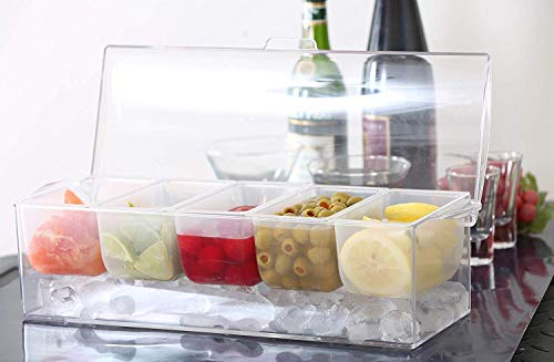 Chilled Icy Condiment Server 5 Removable Compartments With Lid Large Size Great For Parties Hosting Entertaining Dining