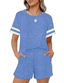 LOLLO VITA Womans Pajamas Super Soft Sets Womens Sleep Shorts Cute Pjs Sets with Pockets Sky Blue