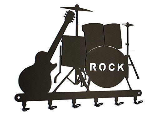 steelprint.de Schlüsselbrett/Hakenleiste ** Rock-Band ** Schlüsselboard Schlagzeug und Gitarre, Schlüsselleiste Metall, 6 Haken