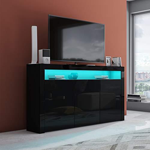 UNDRANDED 152cm LED TV Lowboard mit 3 Türen Fernsehtisch Unterschrank Anrichte Kommode Hochglanz & Holz (Schwarz)