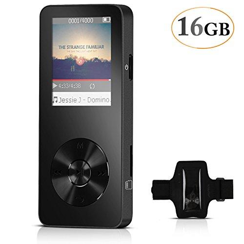 AGPTEK 16Go M28 |Refusez Le Faux!| | Lecteur MP3 Métal, Ecran Couleurs de 1.8'', (slot carte mémoire de 32Go), Noir