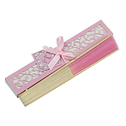 Ventilador de mano plegable con caja de regalo, Fanshin Vintage de seda de bambú chino/japonés de mano de madera plegable para boda baile fiesta regalos rosa