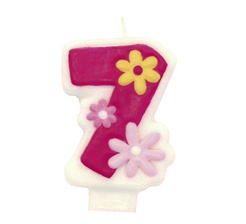 Candela Numerale Rosa 7