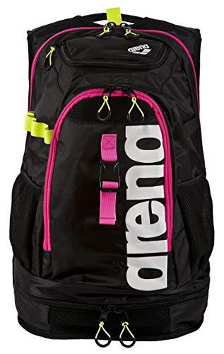 arena Unisex Profi Triathlon Rucksack Fastpack 2.1 für Schwimmer und Triathleten (11 Fächer, 40x35x55cm), Black-Fuchsia-White (95), One Size
