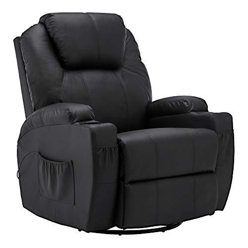MCombo Fauteuil de Massage Fauteuil inclinable avec siège pivotant Chauffant Noir