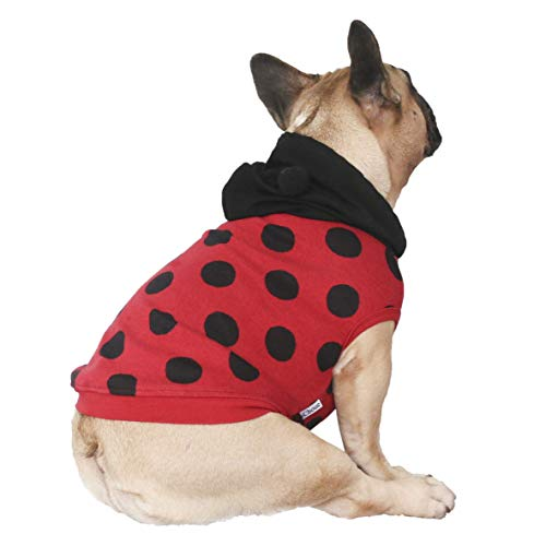 iChoue Ladybug Dog Costumes Hoodie Sleeveless Clothes Shirt Pullover for French Bulldog Pug Boston Terrier -Black and Red Ladybird/L
