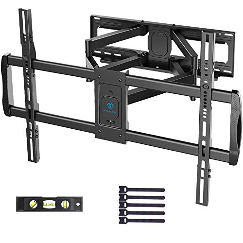 PERLESMITH Full Motion TV Wall Mount for 37-90' Flat Curved Screens with Max VESA 800x600mm Articulating Swivel Extension Tilting Dual Bracket Arms Fits 16 18 24' Studs Hold up to 165lbs, PSXFK2