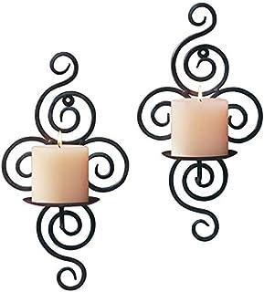 dor/é bar Bougeoir mural 3D g/éom/étrique rond en m/étal salle /à manger 19 cm /Éclairage d/écoratif pour salon Queta D/écoration murale en fer forg/é