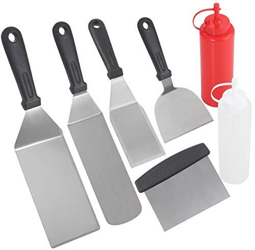 POLIGO 7PC Professionelles Grillspachtel Set – Kommerzielle Qualität Edelstahl Metallspachtel und Grillschaber für Männer – Grillzubehör für Camping Gusseisengrill, Flachgrill - Ideales