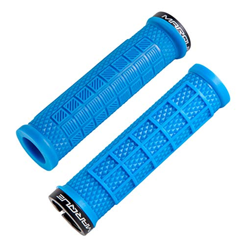 MARQUE Grapple Mountain Bike Handlebar Grips – Single Lock-On Ring MTB and BMX Bicycle Handle Bar with Non-Slip Grip (Sky Blue)