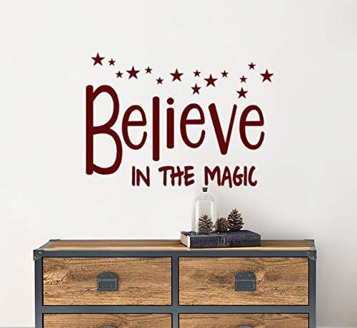 Yilooom Geloof In De Magic Vinyl Muursticker Woorden, Kerst Quotes Decor, Kerst Decal, Raam, Voordeur Decoraties 12 Inch In Breedte
